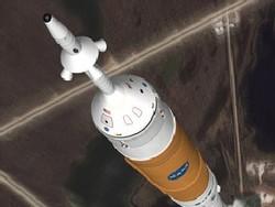 Rappresentazione del lancio del vettore Ares sormontato dalla capsula per equipaggio Orion (Fonte: NASA)