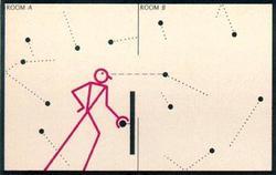 Rappresentazione simbolica del diavoletto di Maxwell, ipotetico congegno che sceglie quali particelle lasciare passare attraverso il setto.