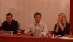 Da sinistra Richard Morgan, Connor Trinneer, Viriginia Hey