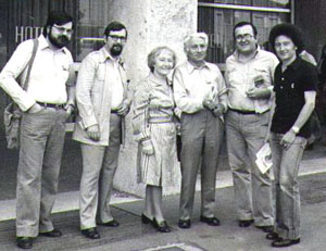 Babini, Adalberto Cersosimo, Gilda Musa, Inisero Cremaschi, Ernesto Vegetti, Massimo Pandolfi, allo SFIR di Ferrara nel 1978 (foto: Vegetti)