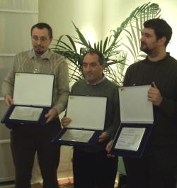 I tre vincitori del premio Galassia: da sinistra Alberto Priora, Claudio Tanari e Giovanni Claudio
