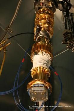 Particolare del sistema criogenico usato per raffreddare il chip a 16 qubit della D-Wave Systems, fino a pochi millesimi di grado sopra lo zero assoluto (-273,16 gradi Celsius).