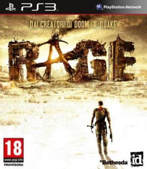 La copertina di Rage per Ps3. Il gioco è disponibile anche per Pc e Xbox 360, oltreché in una versione ad hoc per iOs.