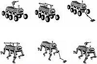 Disegni che illustrano le configurazioni dei robot da combattimento