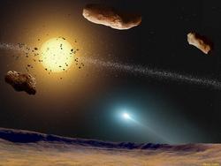 Rappresentazione ipotetica di un potenziale sistema planetario nell'orbita di Tau Ceti. Questa stella, molto simile al nostro Sole, è stata immortalata da Dan Simmons nel suo ciclo di Hyperion. Finora non sono ancora stati individuati pianeti nella sua orbita. E' il segno che si tratti di oggetti rocciosi di piccole dimensioni, proprio come la Terra?