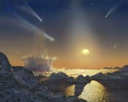 Un possibile tramonto alieno su un pianeta dell'ipotetico sistema di Tau Ceti.