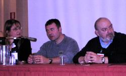 La tavola rotonda su Dick, con Richard Morgan e Vittorio Curtoni (fuori inquadratura Antonio Fazio e Salvatore Proietti). Elisabetta Vernier faceva la traduttrice simultanea