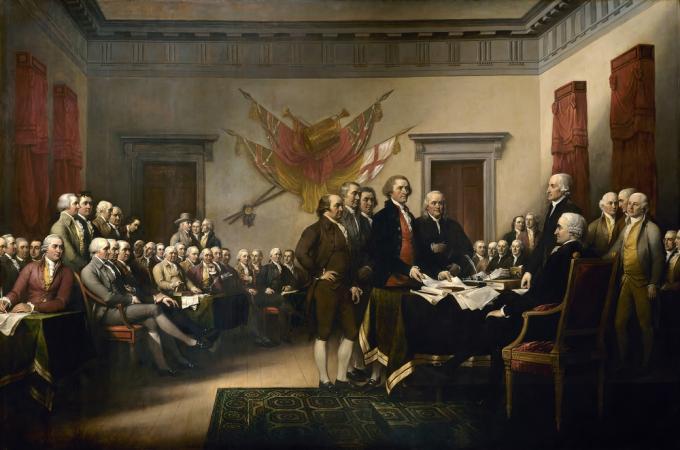 <i>Declaration independence</i>di John Trumbull - US Capitol. Con licenza Pubblico dominio tramite Wikimedia Commons