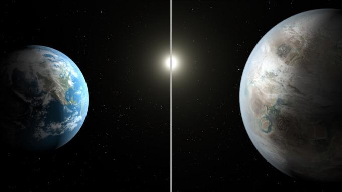 Una rappresentazione artistica della Terra e diKepler-452b