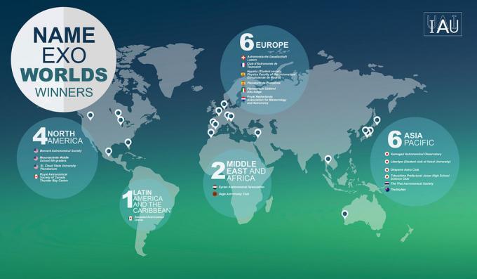 Distribuzione geografica dei vincitori del concorso – fonte IAU