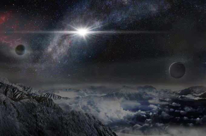 Rappresentazione artistica della supernova da record ASASSN-15lh, così come apparirebbe da un esopianeta distante da essa circa 10.000 anni luce. (Beijing Planetarium /Jin Ma)