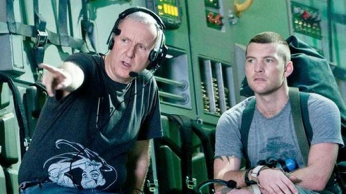 James Cameron e Sam Worthington sul set di Avatar.