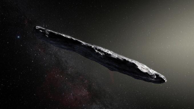 L'artwork che rappresenta 'Oumuamua