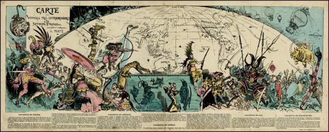 <i>Carte des Voyages Tres Extraordinaires de Saturnin Farandoul pour servir a l'intelligence due Texte </i>(Parigi, 1879). Fantastico planisfero realizzato da Albert Robida per illustrare i suoi <i>Voyages très extraordinaires de Saturnin Farandoul </i>intorno al mondo.
