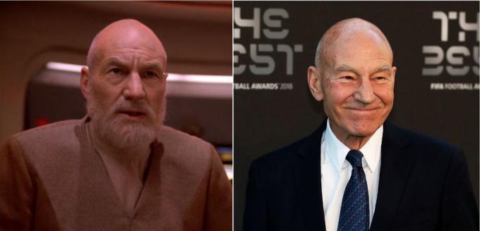 Invecchiato nel finale di serie di Star Trek: The Next Generation, e ai giorni nostri.