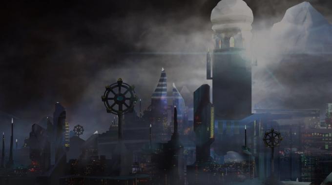 La città di Xiosphant in The City in the Middle of the Night, illustrazione di Valentina Filic