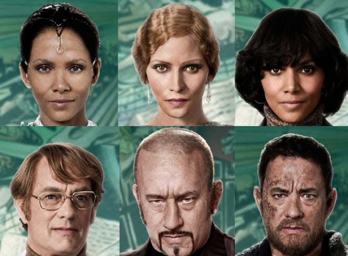 Tom Hanks e Halle Berry in alcuni dei personaggi che interpretano in Cloud Atlas.