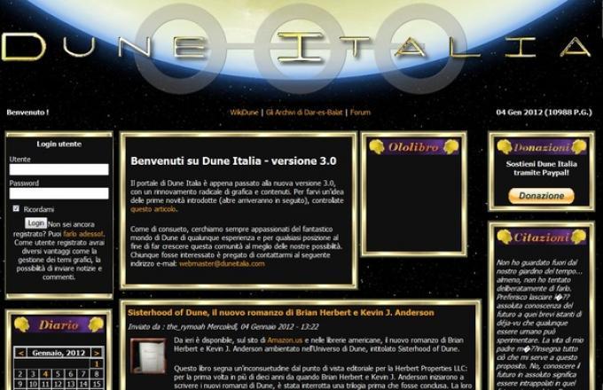 La Homepage del sito DuneItalia.com