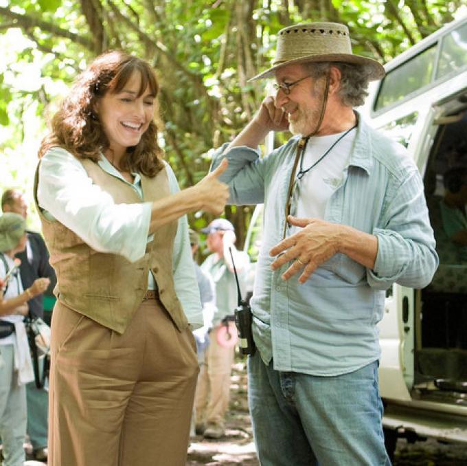 Karen Allen e Steven Spielberg sul set