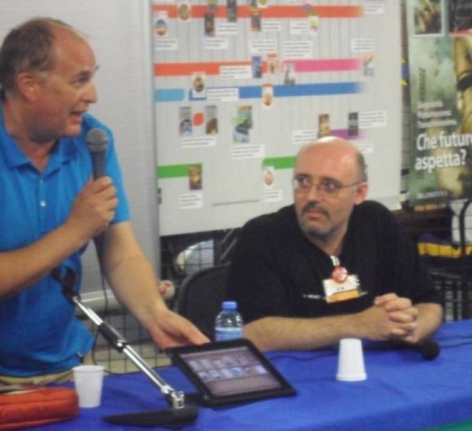 Un momento del panel sugli ebook: a sinistra Luca Masali, a destra Silvio Sosio