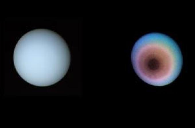 Doppia immagine di Urano in colori reali (a sinistra) e in falsi colori (a destra).