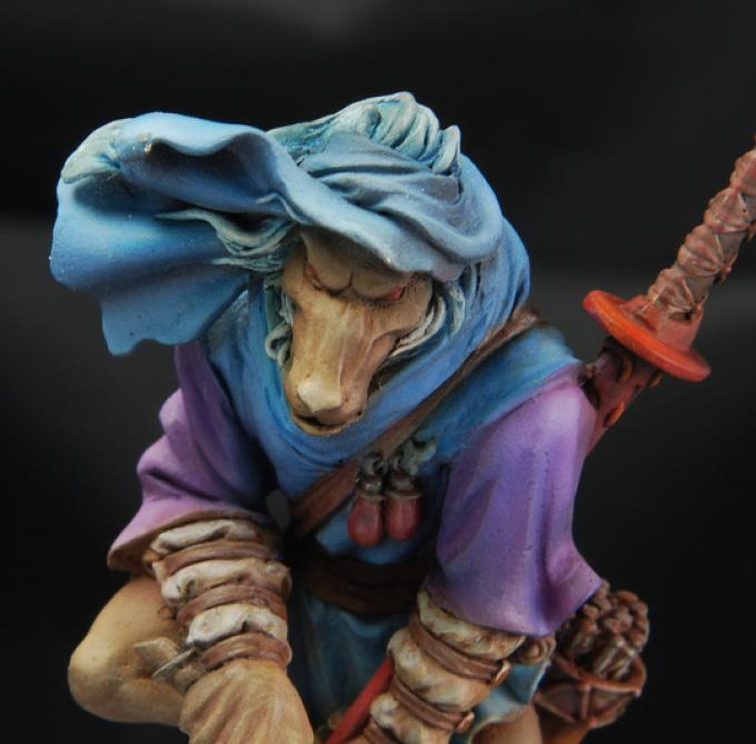 """""""The wolfen"""" di Alessio Bernesco Làvore è un figurino in 28mm: la piccola scala rende il gioco cromatico particolarmente stupefacente."""