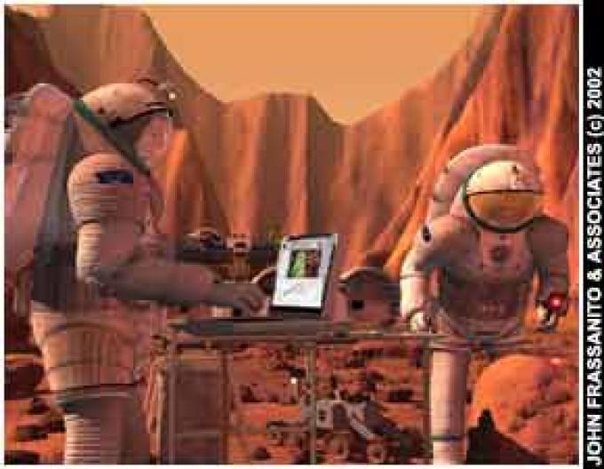 Ricercatori al lavoro su Marte