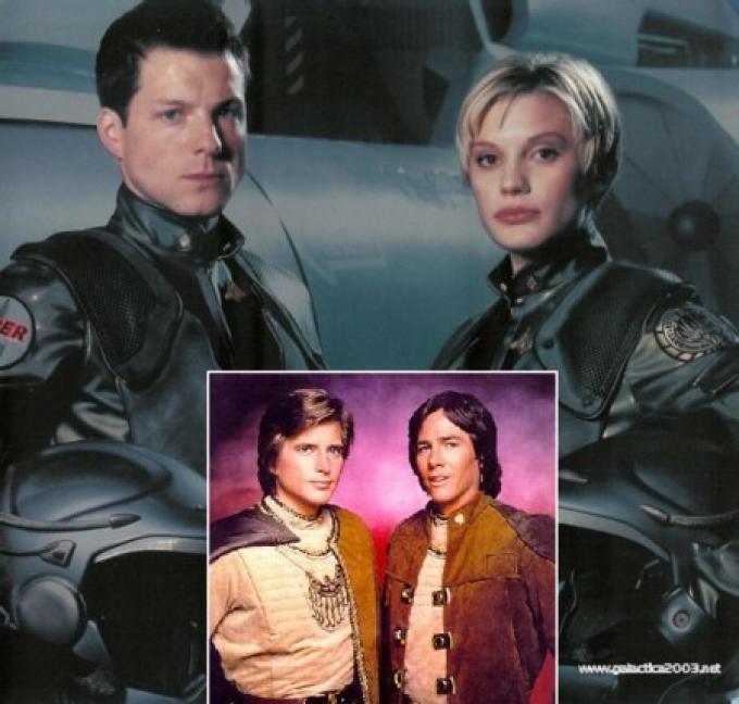 Apollo e Starbuck della nuova serie, e nel riquadro quelli della serie classica.
