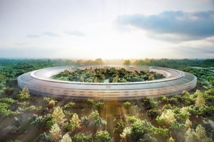 """La nuova sede della Apple, che sarà costruita a Cupertino nei prossimi anni, chiamata anche """"Mothership"""", """"astronave madre""""."""