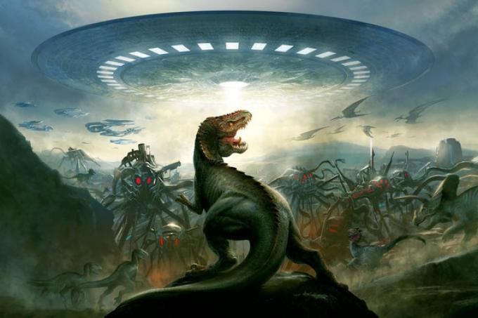 Con i suoi dentoni, il Tirannosauro saprà difenderci dai cattivoni alieni...