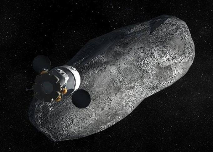 Una visione artistica della missione su un asteroide