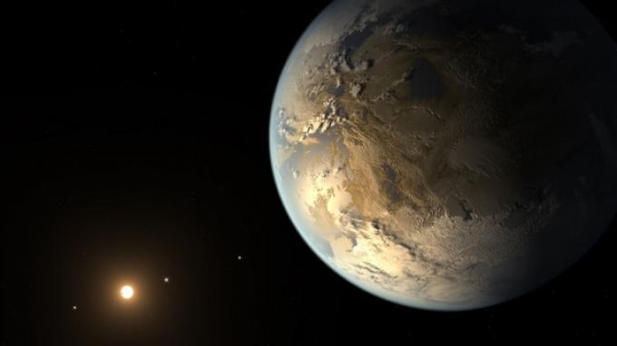 """Appena scoperto, c'è già un """"concept"""" artistico del pianeta Kepler-186f (fonte Nasa.gov)"""