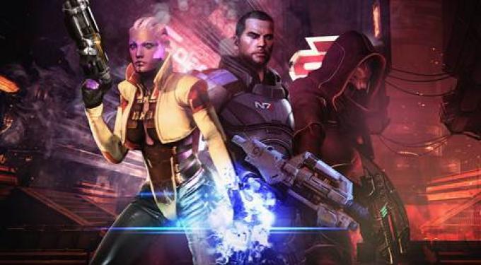 Il trio protagonista del dlc. Da sinistra: Aria T'Loak, Shepard, Nyreen Kandros.