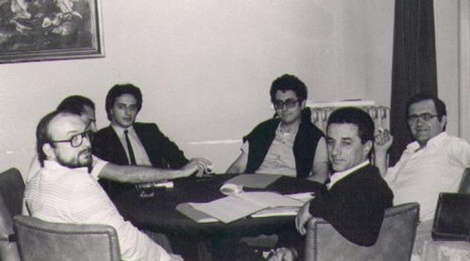Una vecchia foto risalente al 1992, Fantasticon di Oleggio. Vittorio Curtoni, Alex Voglino, Franco Storchi, Sergio Giuffrida, Gianfranco Viviani, Ernesto Vegetti.