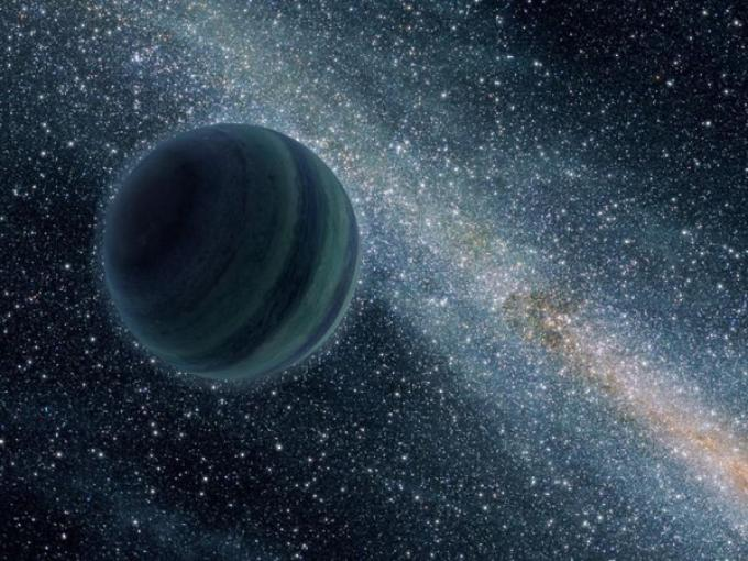 Una rappresentazione artistica di un pianeta senza sole.